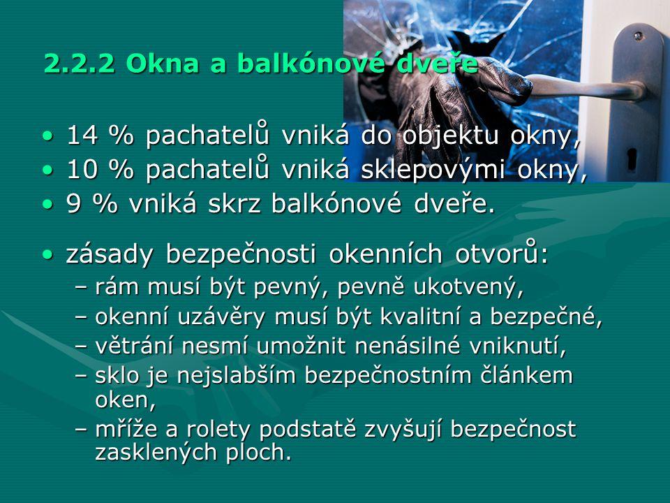 2.2.2 Okna a balkónové dveře •14 % pachatelů vniká do objektu okny, •10 % pachatelů vniká sklepovými okny, •9 % vniká skrz balkónové dveře. •zásady be