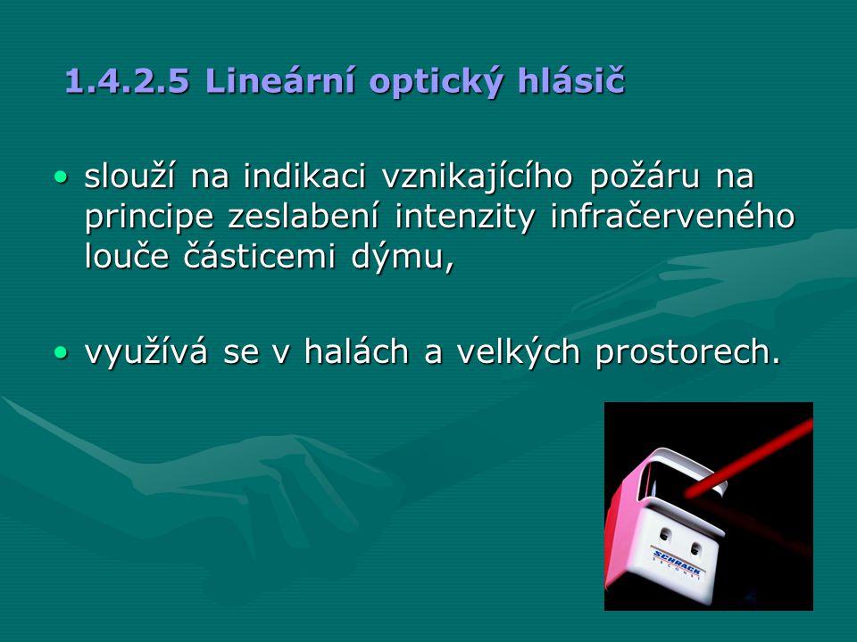 1.4.2.5 Lineární optický hlásič •slouží na indikaci vznikajícího požáru na principe zeslabení intenzity infračerveného louče částicemi dýmu, •využívá