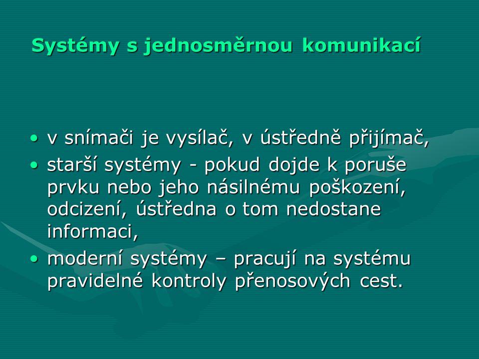 Systémy s jednosměrnou komunikací •v snímači je vysílač, v ústředně přijímač, •starší systémy - pokud dojde k poruše prvku nebo jeho násilnému poškoze