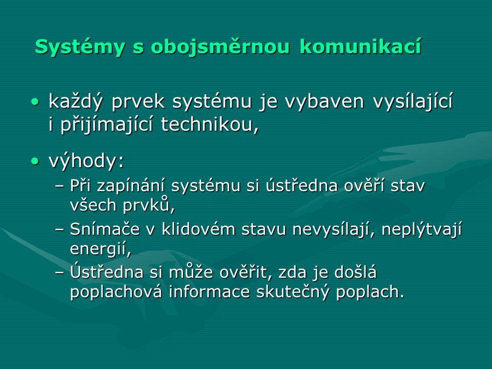 Systémy s obojsměrnou komunikací •každý prvek systému je vybaven vysílající i přijímající technikou, •výhody: –Při zapínání systému si ústředna ověří