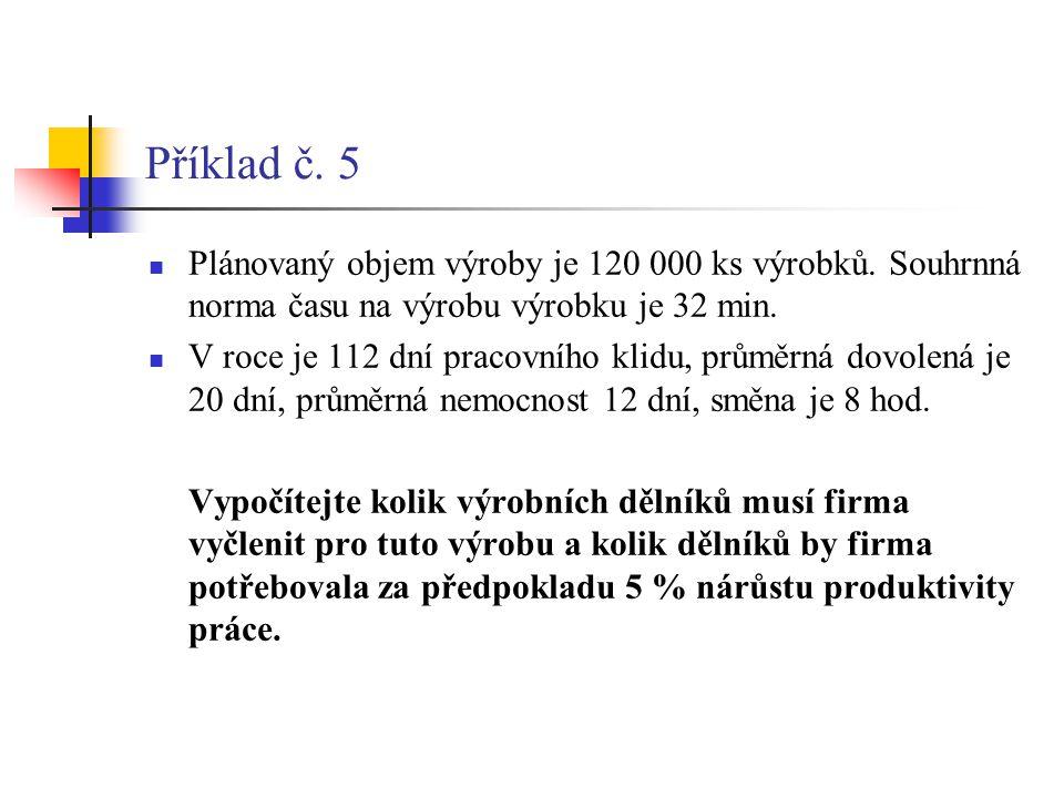 Příklad č. 5  Plánovaný objem výroby je 120 000 ks výrobků. Souhrnná norma času na výrobu výrobku je 32 min.  V roce je 112 dní pracovního klidu, pr