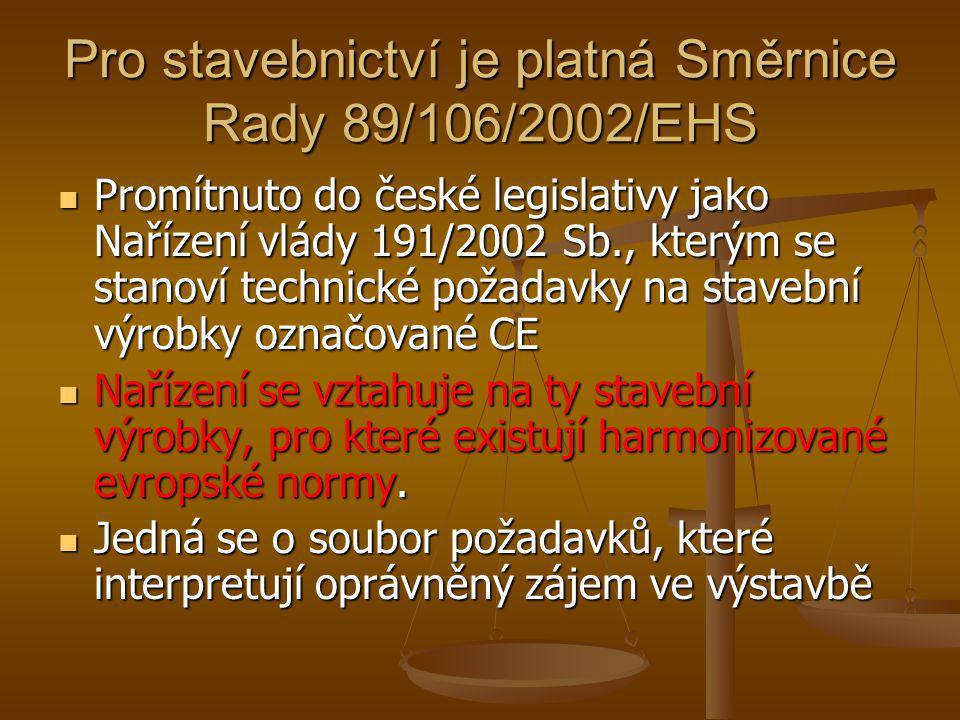Pro stavebnictví je platná Směrnice Rady 89/106/2002/EHS  Promítnuto do české legislativy jako Nařízení vlády 191/2002 Sb., kterým se stanoví technic