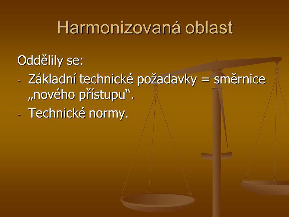 """Harmonizovaná oblast Oddělily se: - Základní technické požadavky = směrnice """"nového přístupu"""". - Technické normy."""