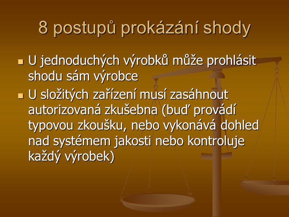 8 postupů prokázání shody  U jednoduchých výrobků může prohlásit shodu sám výrobce  U složitých zařízení musí zasáhnout autorizovaná zkušebna (buď p