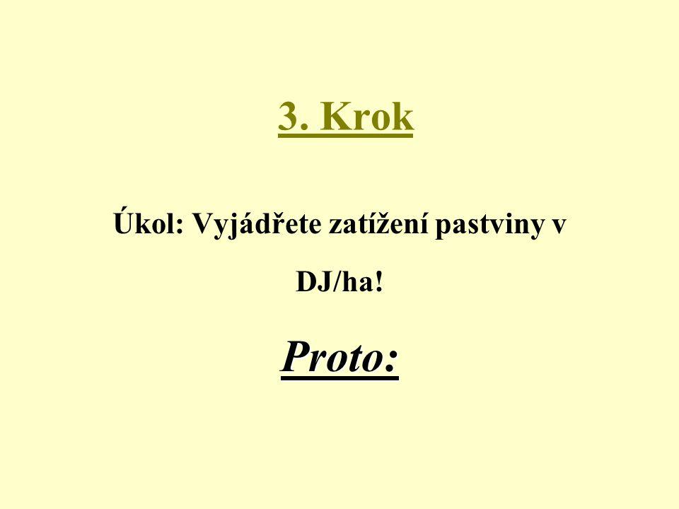 3. Krok Proto: Úkol: Vyjádřete zatížení pastviny v DJ/ha! Proto: