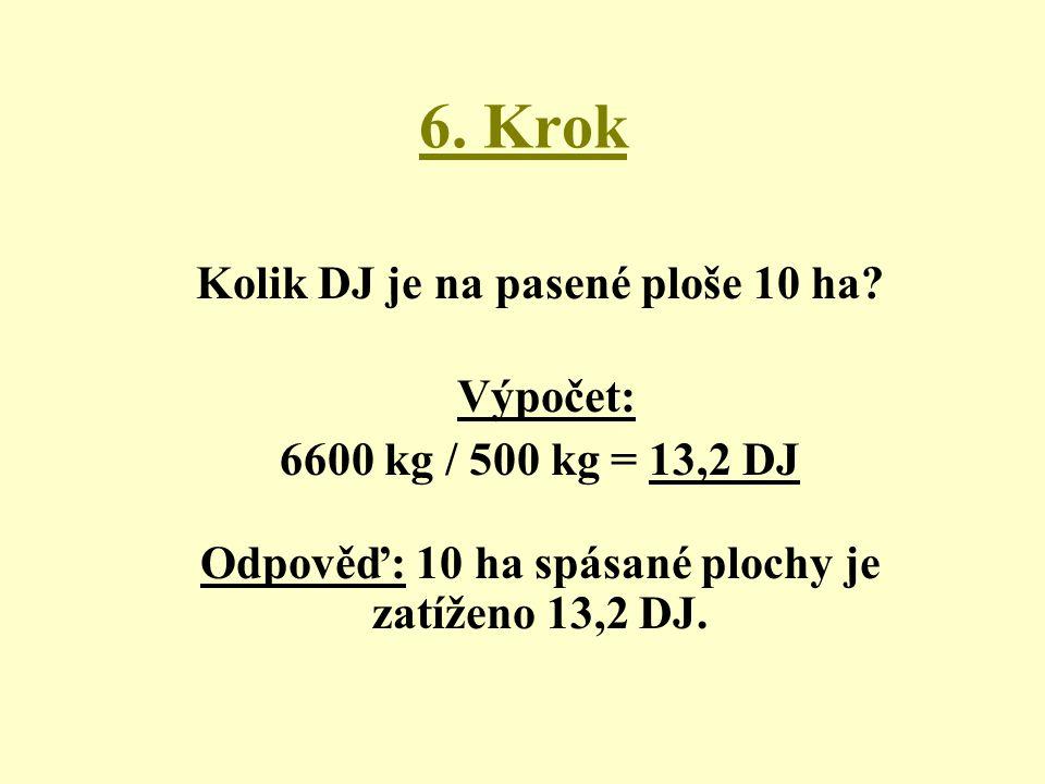 6. Krok Kolik DJ je na pasené ploše 10 ha? Výpočet: 6600 kg / 500 kg = 13,2 DJ Odpověď: 10 ha spásané plochy je zatíženo 13,2 DJ.