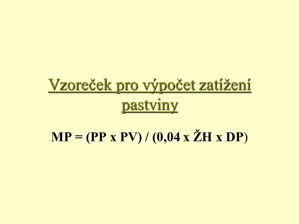 Vzoreček pro výpočet zatížení pastviny MP = (PP x PV) / (0,04 x ŽH x DP)