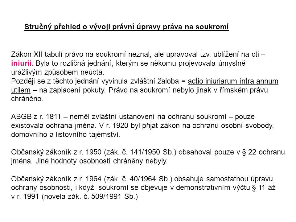 Stručný přehled o vývoji právní úpravy práva na soukromí Zákon XII tabulí právo na soukromí neznal, ale upravoval tzv. ublížení na cti – iniurii. Byla