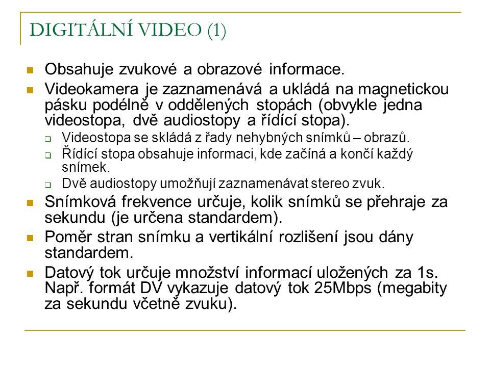 DIGITÁLNÍ VIDEO (1)  Obsahuje zvukové a obrazové informace.  Videokamera je zaznamenává a ukládá na magnetickou pásku podélně v oddělených stopách (