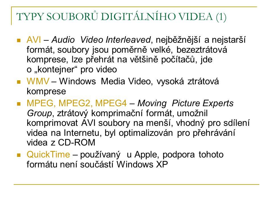 TYPY SOUBORŮ DIGITÁLNÍHO VIDEA (1)  AVI – Audio Video Interleaved, nejběžnější a nejstarší formát, soubory jsou poměrně velké, bezeztrátová komprese,