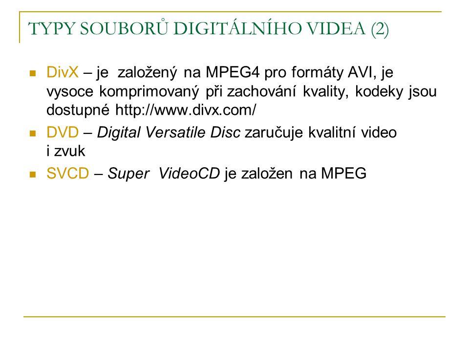  DivX – je založený na MPEG4 pro formáty AVI, je vysoce komprimovaný při zachování kvality, kodeky jsou dostupné http://www.divx.com/  DVD – Digital