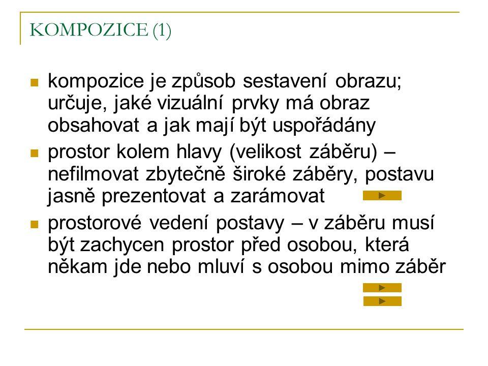 KOMPOZICE (1)  kompozice je způsob sestavení obrazu; určuje, jaké vizuální prvky má obraz obsahovat a jak mají být uspořádány  prostor kolem hlavy (