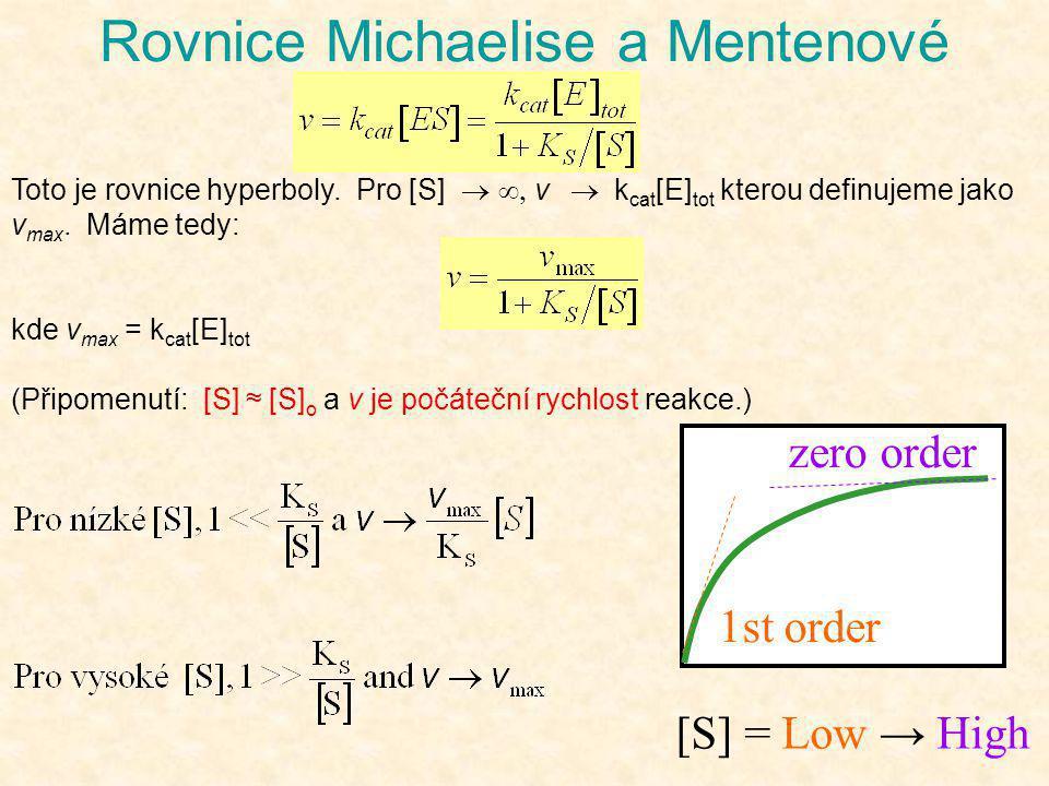 Rovnice Michaelise a Mentenové Toto je rovnice hyperboly. Pro [S]  v  k cat [E] tot kterou definujeme jako v max. Máme tedy: kde v max = k cat