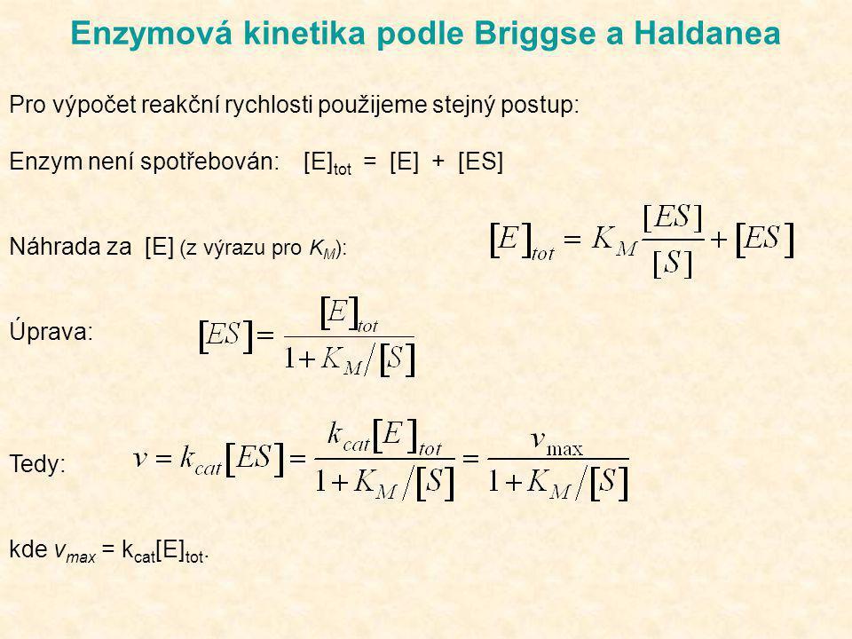 Enzymová kinetika podle Briggse a Haldanea Pro výpočet reakční rychlosti použijeme stejný postup: Enzym není spotřebován: [E] tot = [E] + [ES] Náhrada