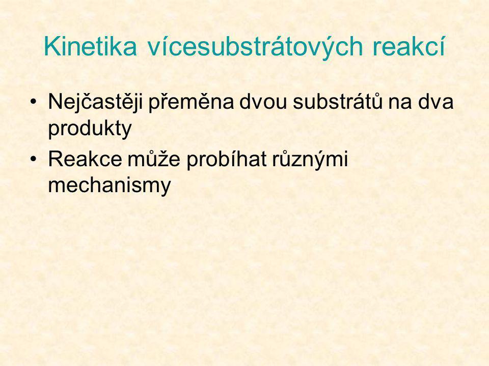 Kinetika vícesubstrátových reakcí •Nejčastěji přeměna dvou substrátů na dva produkty •Reakce může probíhat různými mechanismy