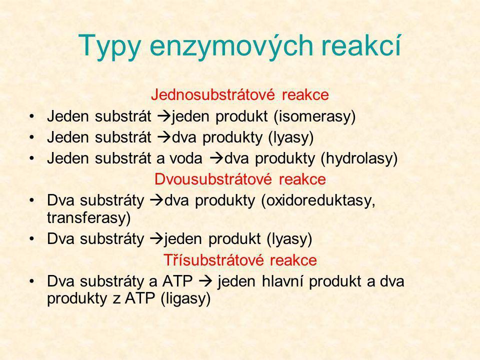 Typy enzymových reakcí Jednosubstrátové reakce •Jeden substrát  jeden produkt (isomerasy) •Jeden substrát  dva produkty (lyasy) •Jeden substrát a vo