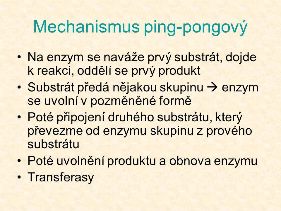 Mechanismus ping-pongový •Na enzym se naváže prvý substrát, dojde k reakci, oddělí se prvý produkt •Substrát předá nějakou skupinu  enzym se uvolní v