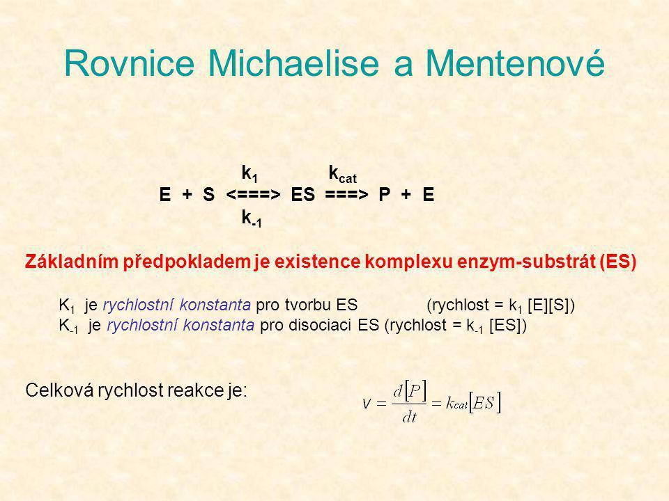 Rovnice Michaelise a Mentenové k 1 k cat E + S ES ===> P + E k -1 Základním předpokladem je existence komplexu enzym-substrát (ES) K 1 je rychlostní k