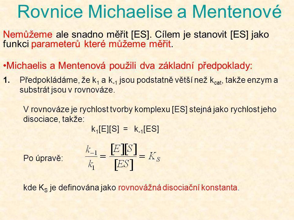 Rovnice Michaelise a Mentenové Nemůžeme ale snadno měřit [ES]. Cílem je stanovit [ES] jako funkci parameterů které můžeme měřit. •Michaelis a Mentenov