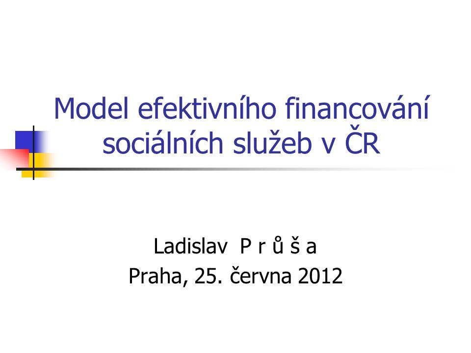 Model efektivního financování sociálních služeb v ČR Ladislav P r ů š a Praha, 25. června 2012