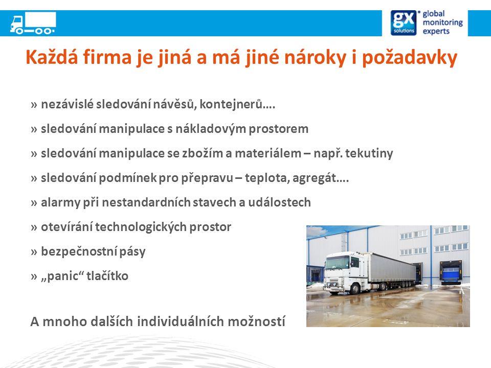 Každá firma je jiná a má jiné nároky i požadavky »nezávislé sledování návěsů, kontejnerů….