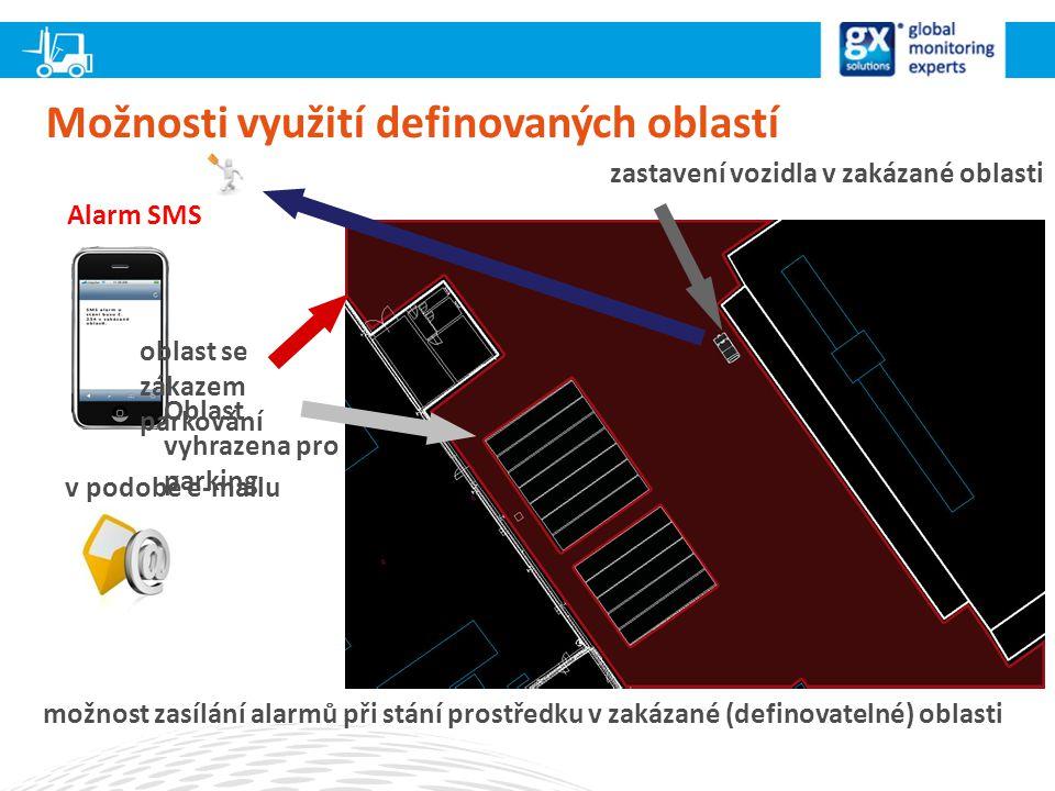 Možnosti využití definovaných oblastí možnost zasílání alarmů při stání prostředku v zakázané (definovatelné) oblasti Alarm SMS Oblast vyhrazena pro parking oblast se zákazem parkování zastavení vozidla v zakázané oblasti v podobě e-mailu
