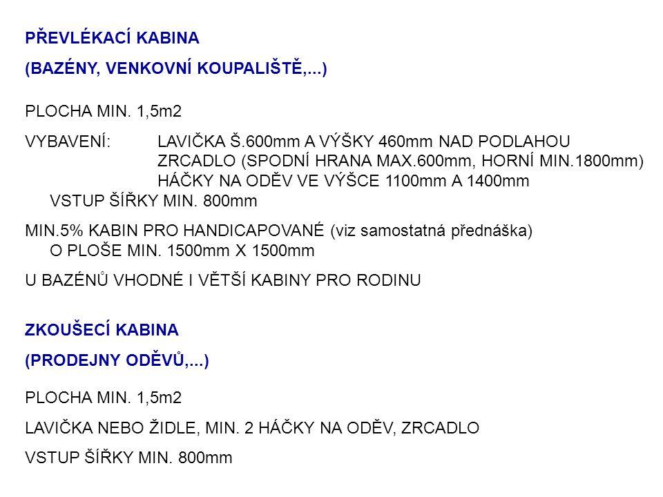 PŘEVLÉKACÍ KABINA (BAZÉNY, VENKOVNÍ KOUPALIŠTĚ,...) PLOCHA MIN. 1,5m2 VYBAVENÍ:LAVIČKA Š.600mm A VÝŠKY 460mm NAD PODLAHOU ZRCADLO (SPODNÍ HRANA MAX.60