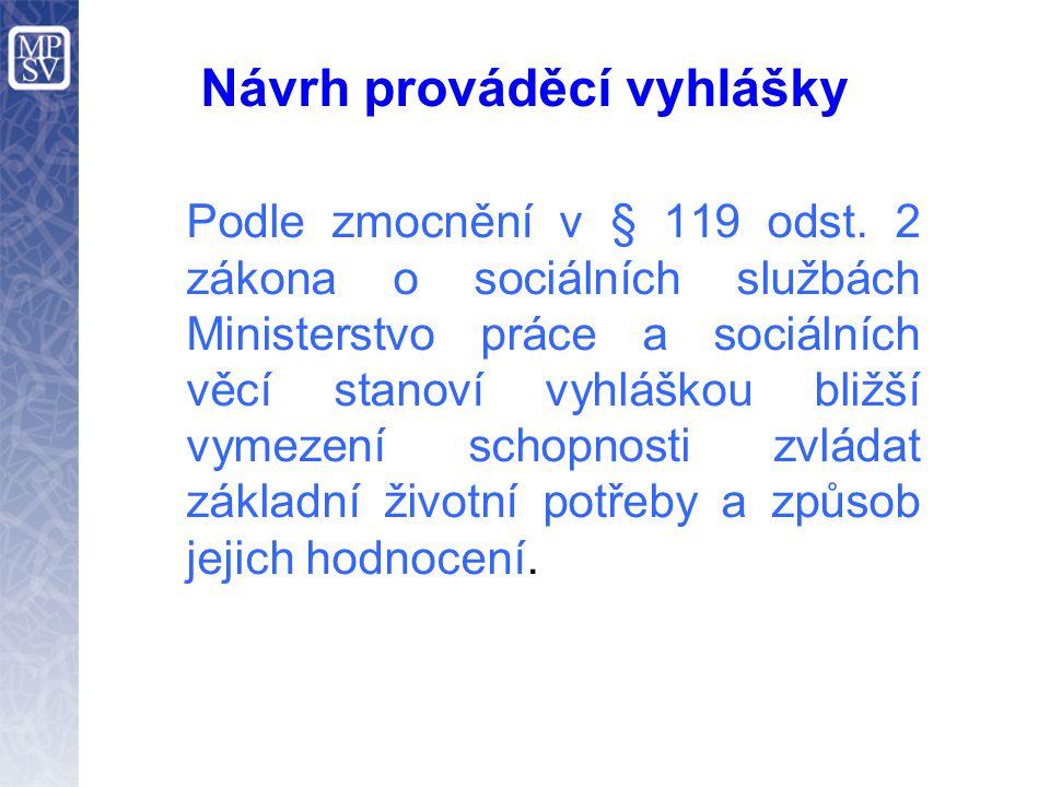 Návrh prováděcí vyhlášky Podle zmocnění v § 119 odst. 2 zákona o sociálních službách Ministerstvo práce a sociálních věcí stanoví vyhláškou bližší vym