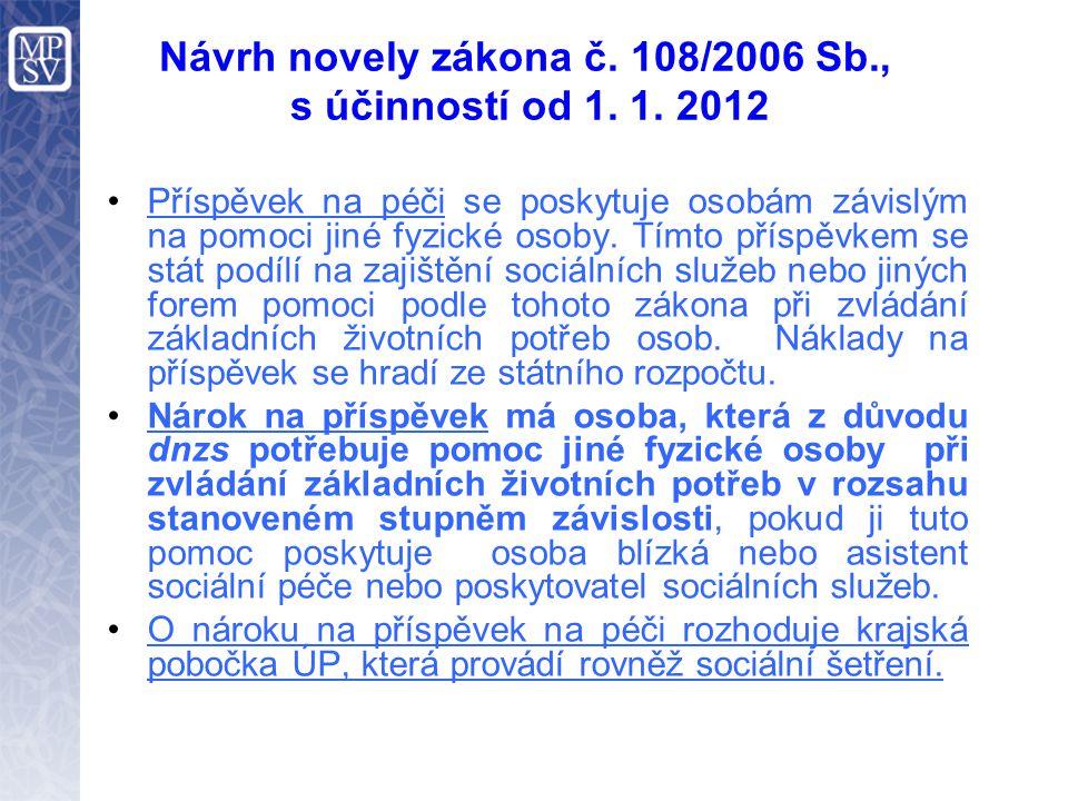 Návrh novely zákona č. 108/2006 Sb., s účinností od 1. 1. 2012 •Příspěvek na péči se poskytuje osobám závislým na pomoci jiné fyzické osoby. Tímto pří