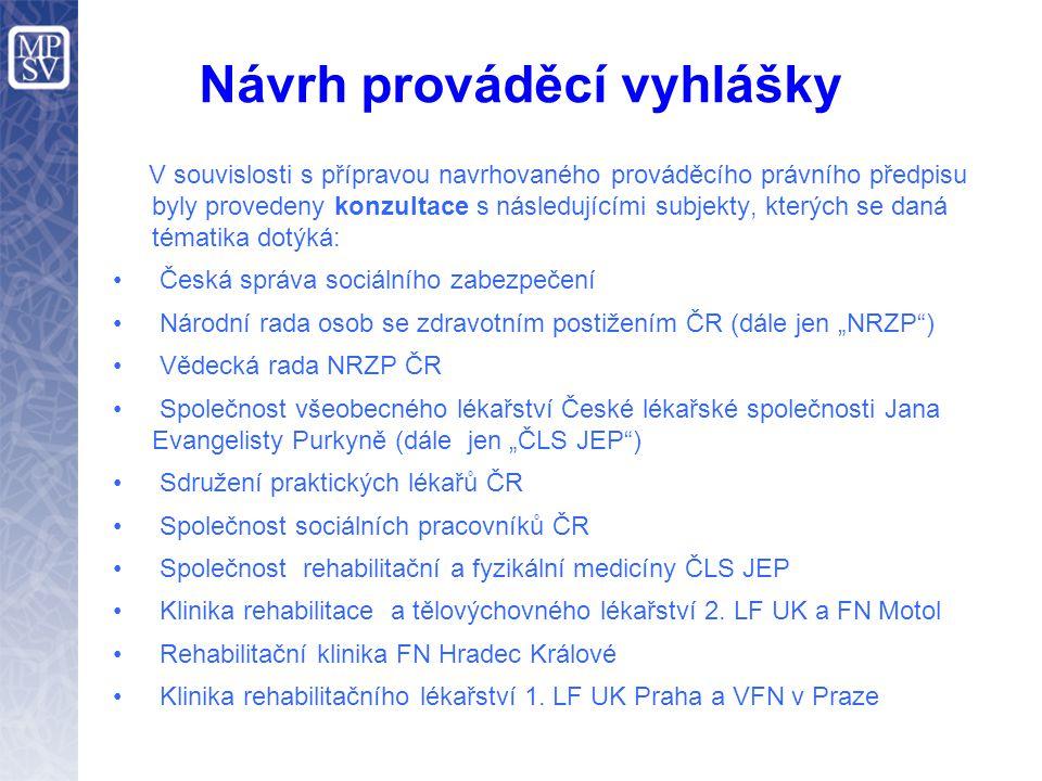 Návrh prováděcí vyhlášky V souvislosti s přípravou navrhovaného prováděcího právního předpisu byly provedeny konzultace s následujícími subjekty, kter