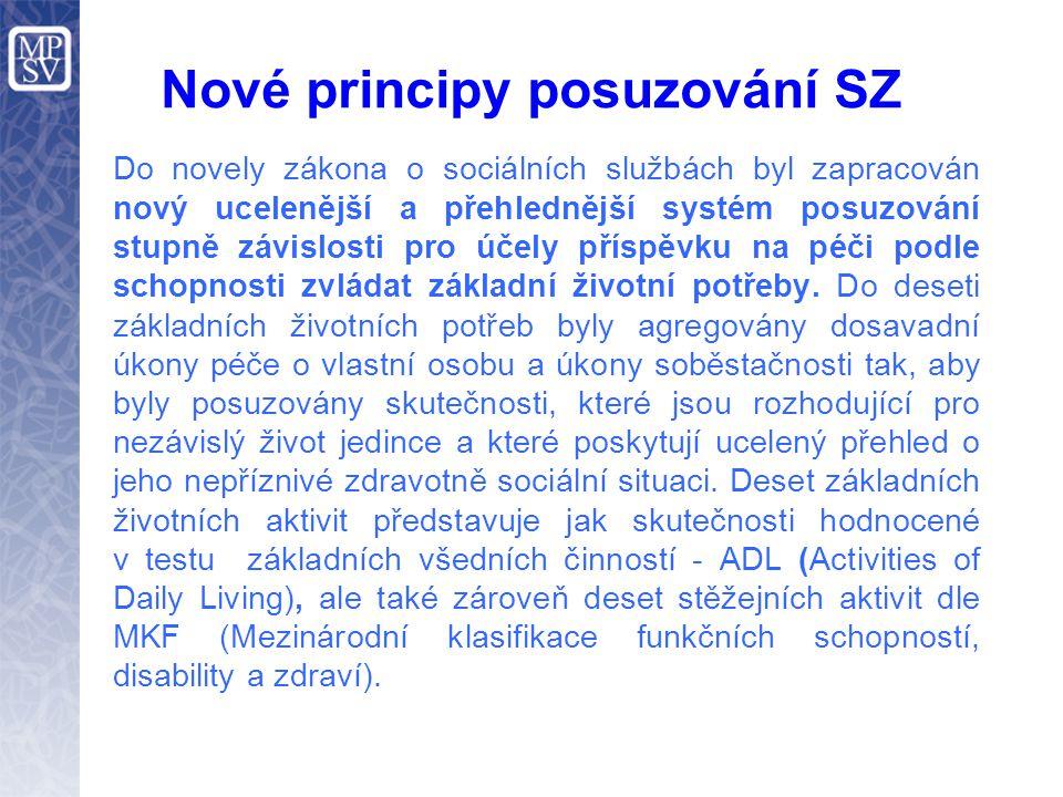 Nové principy posuzování SZ Do novely zákona o sociálních službách byl zapracován nový ucelenější a přehlednější systém posuzování stupně závislosti p