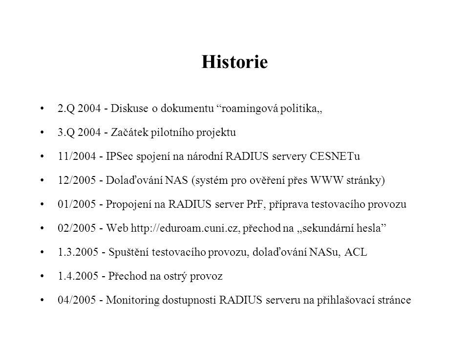 """Historie •2.Q 2004 - Diskuse o dokumentu roamingová politika"""" •3.Q 2004 - Začátek pilotního projektu •11/2004 - IPSec spojení na národní RADIUS servery CESNETu •12/2005 - Dolaďování NAS (systém pro ověření přes WWW stránky) •01/2005 - Propojení na RADIUS server PrF, příprava testovacího provozu •02/2005 - Web http://eduroam.cuni.cz, přechod na """"sekundární hesla •1.3.2005 - Spuštění testovacího provozu, dolaďování NASu, ACL •1.4.2005 - Přechod na ostrý provoz •04/2005 - Monitoring dostupnosti RADIUS serveru na přihlašovací stránce"""