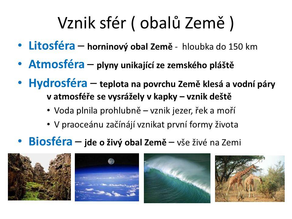 Vznik sfér ( obalů Země ) • Litosféra – horninový obal Země - hloubka do 150 km • Atmosféra – plyny unikající ze zemského pláště • Hydrosféra – teplota na povrchu Země klesá a vodní páry v atmosféře se vysrážely v kapky – vznik deště • Voda plnila prohlubně – vznik jezer, řek a moří • V praoceánu začínájí vznikat první formy života • Biosféra – jde o živý obal Země – vše živé na Zemi