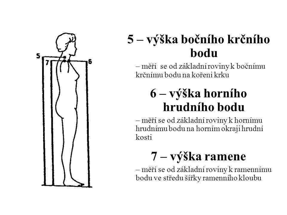 5 – výška bočního krčního bodu – měří se od základní roviny k bočnímu krčnímu bodu na kořeni krku 6 – výška horního hrudního bodu – měří se od základn
