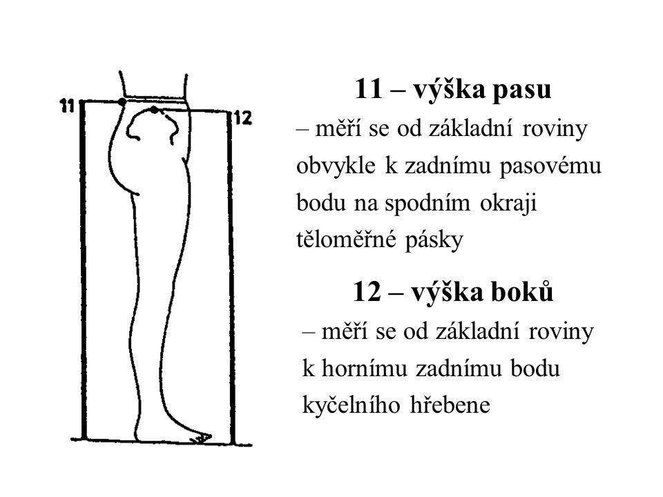 11 – výška pasu – měří se od základní roviny obvykle k zadnímu pasovému bodu na spodním okraji těloměřné pásky 12 – výška boků – měří se od základní r