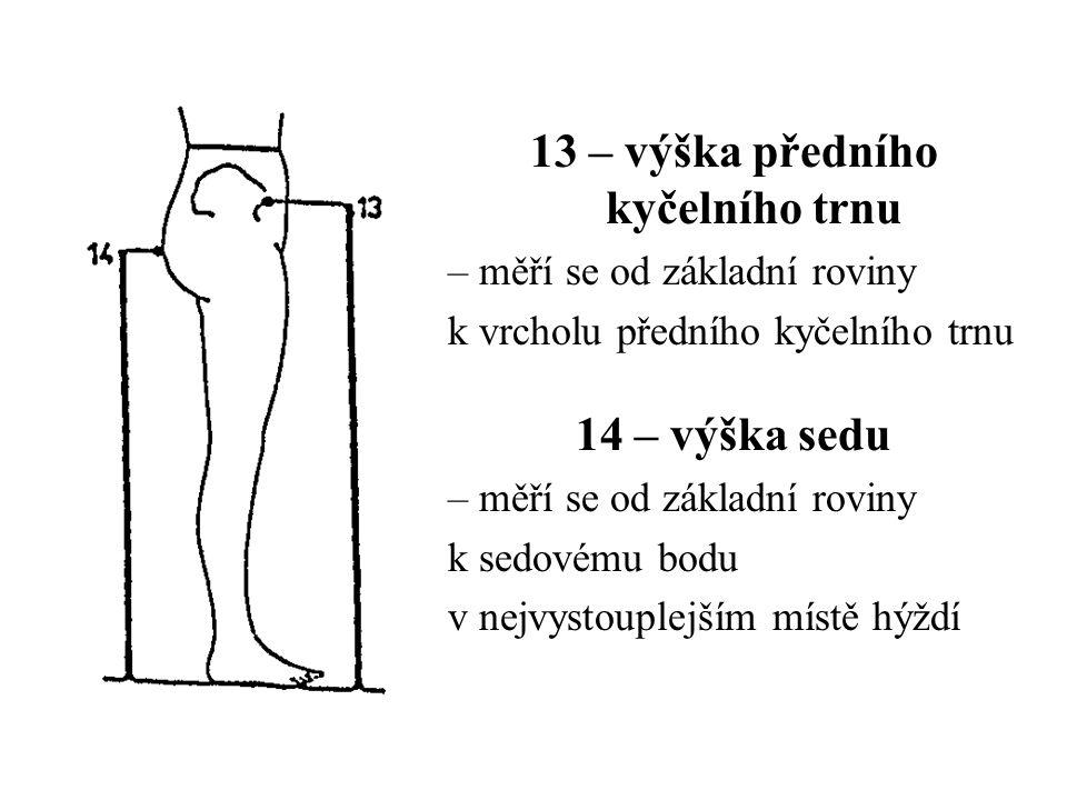 13 – výška předního kyčelního trnu – měří se od základní roviny k vrcholu předního kyčelního trnu 14 – výška sedu – měří se od základní roviny k sedovému bodu v nejvystouplejším místě hýždí