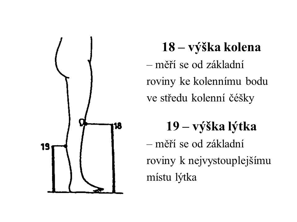 18 – výška kolena – měří se od základní roviny ke kolennímu bodu ve středu kolenní čéšky 19 – výška lýtka – měří se od základní roviny k nejvystouplejšímu místu lýtka