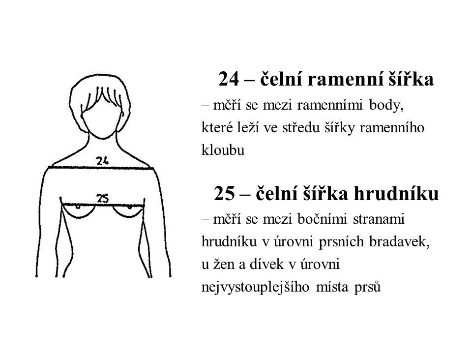 24 – čelní ramenní šířka – měří se mezi ramenními body, které leží ve středu šířky ramenního kloubu 25 – čelní šířka hrudníku – měří se mezi bočními stranami hrudníku v úrovni prsních bradavek, u žen a dívek v úrovni nejvystouplejšího místa prsů