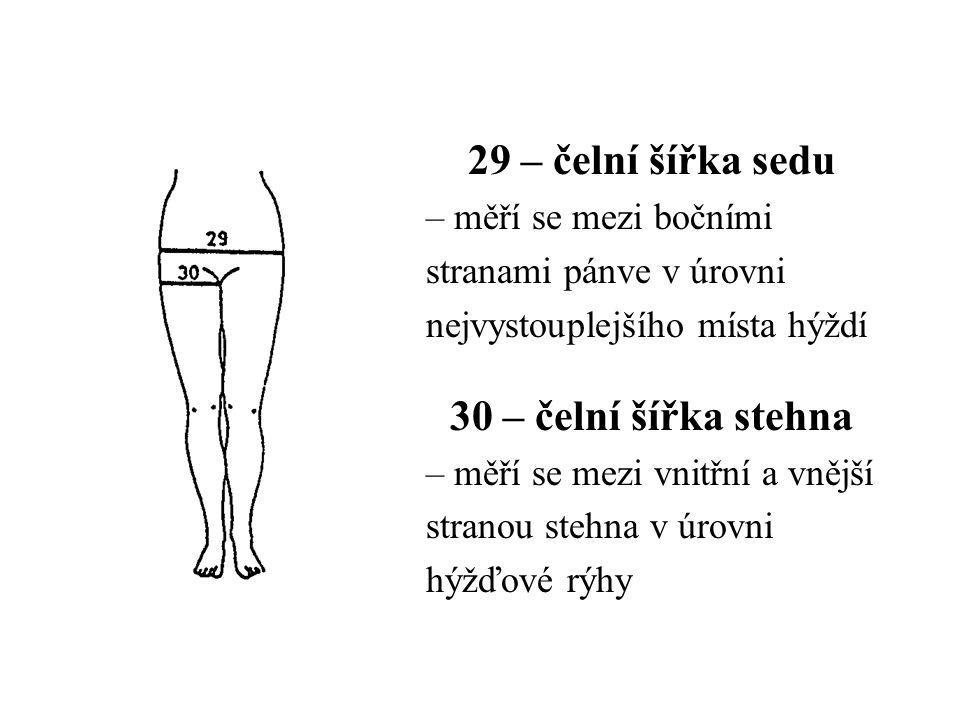 29 – čelní šířka sedu – měří se mezi bočními stranami pánve v úrovni nejvystouplejšího místa hýždí 30 – čelní šířka stehna – měří se mezi vnitřní a vn