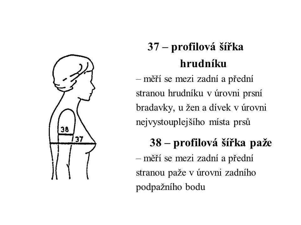 37 – profilová šířka hrudníku – měří se mezi zadní a přední stranou hrudníku v úrovni prsní bradavky, u žen a dívek v úrovni nejvystouplejšího místa prsů 38 – profilová šířka paže – měří se mezi zadní a přední stranou paže v úrovni zadního podpažního bodu
