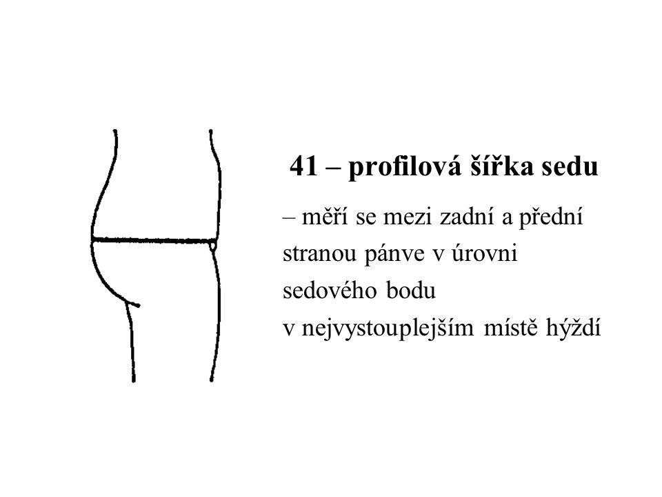 41 – profilová šířka sedu – měří se mezi zadní a přední stranou pánve v úrovni sedového bodu v nejvystouplejším místě hýždí