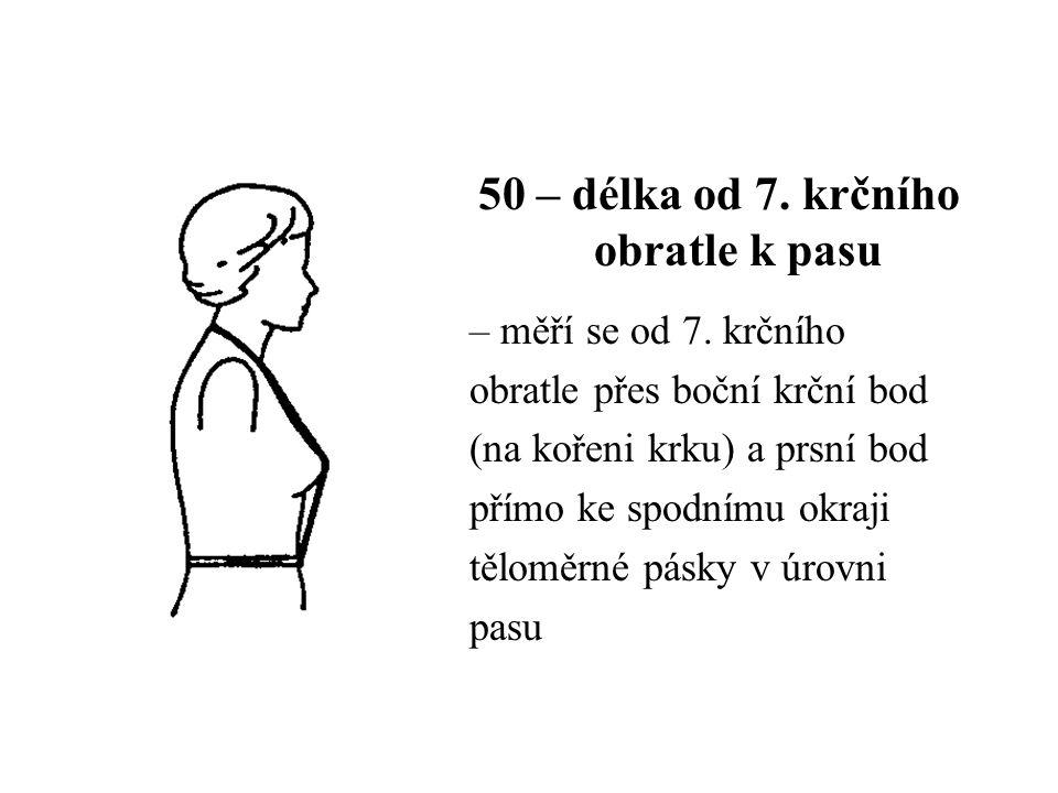 50 – délka od 7. krčního obratle k pasu – měří se od 7. krčního obratle přes boční krční bod (na kořeni krku) a prsní bod přímo ke spodnímu okraji těl
