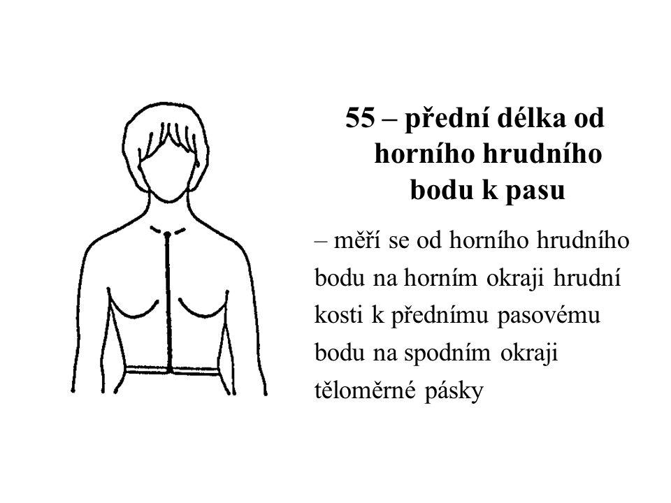 55 – přední délka od horního hrudního bodu k pasu – měří se od horního hrudního bodu na horním okraji hrudní kosti k přednímu pasovému bodu na spodním