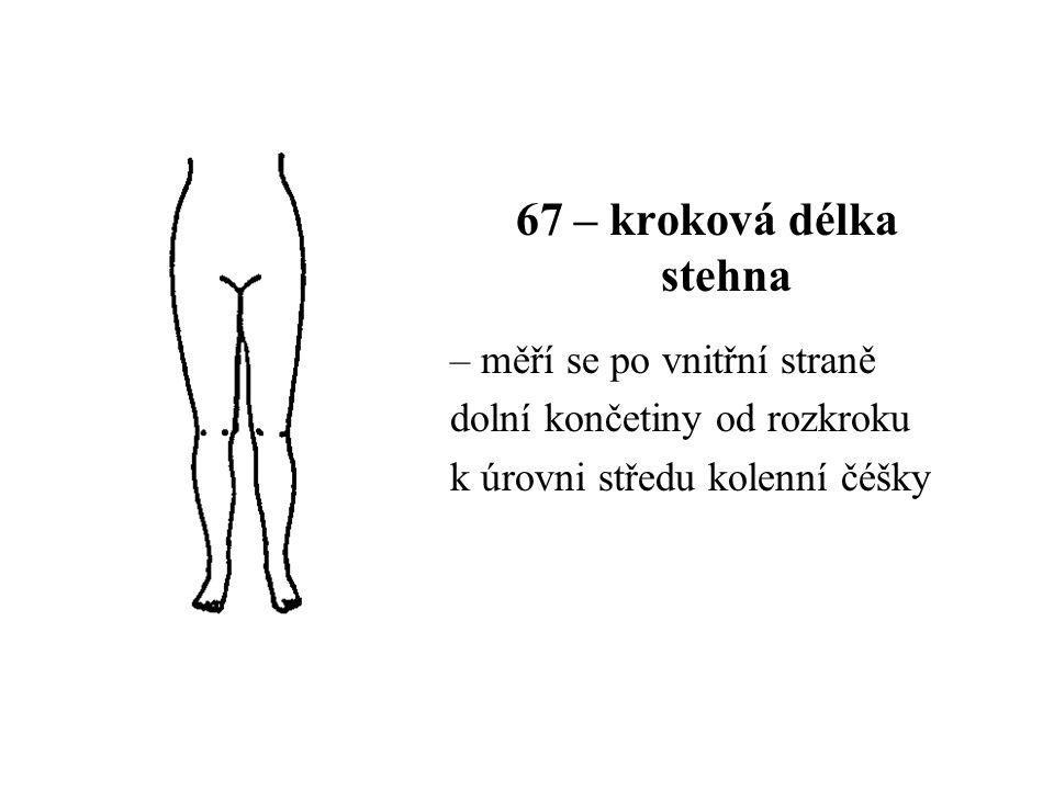 67 – kroková délka stehna – měří se po vnitřní straně dolní končetiny od rozkroku k úrovni středu kolenní čéšky