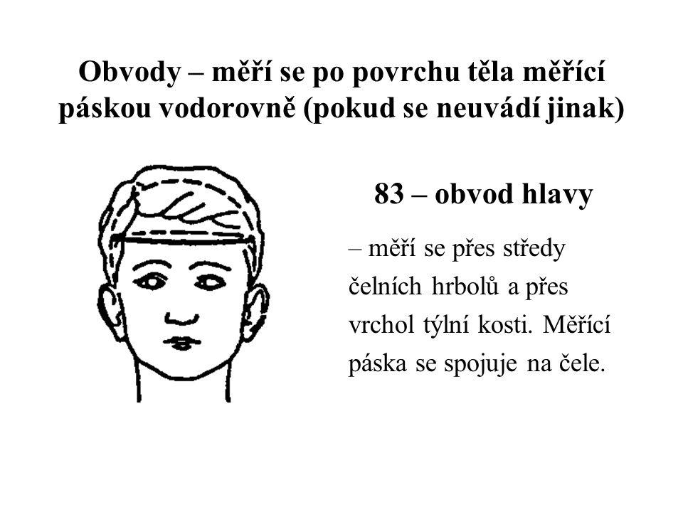 Obvody – měří se po povrchu těla měřící páskou vodorovně (pokud se neuvádí jinak) 83 – obvod hlavy – měří se přes středy čelních hrbolů a přes vrchol