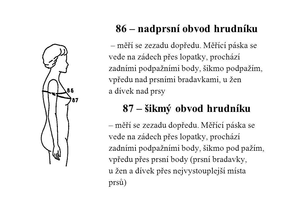 86 – nadprsní obvod hrudníku – měří se zezadu dopředu. Měřící páska se vede na zádech přes lopatky, prochází zadními podpažními body, šikmo podpažím,