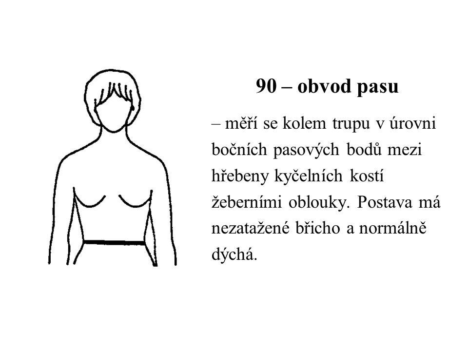 90 – obvod pasu – měří se kolem trupu v úrovni bočních pasových bodů mezi hřebeny kyčelních kostí žeberními oblouky. Postava má nezatažené břicho a no