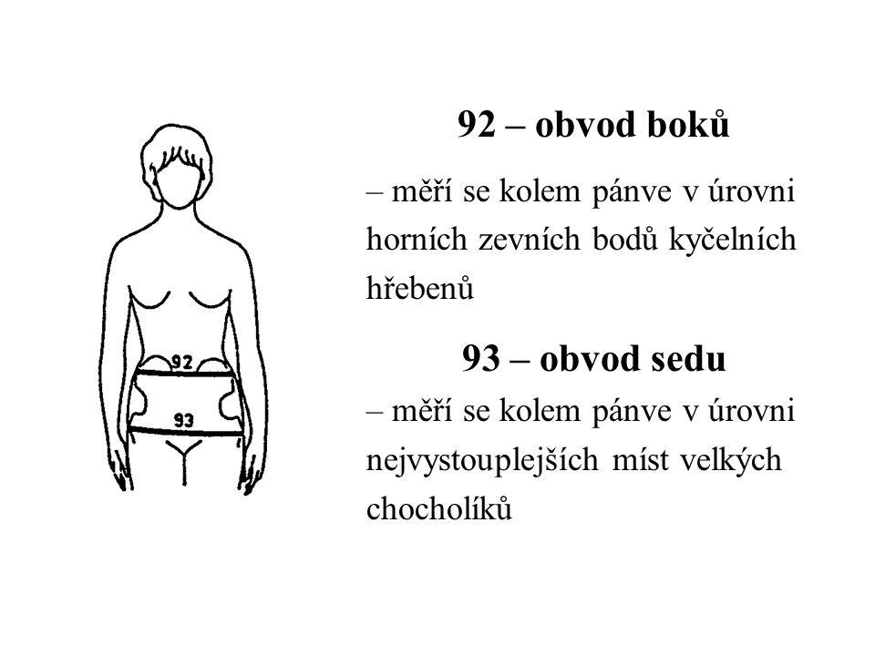 92 – obvod boků – měří se kolem pánve v úrovni horních zevních bodů kyčelních hřebenů 93 – obvod sedu – měří se kolem pánve v úrovni nejvystouplejších