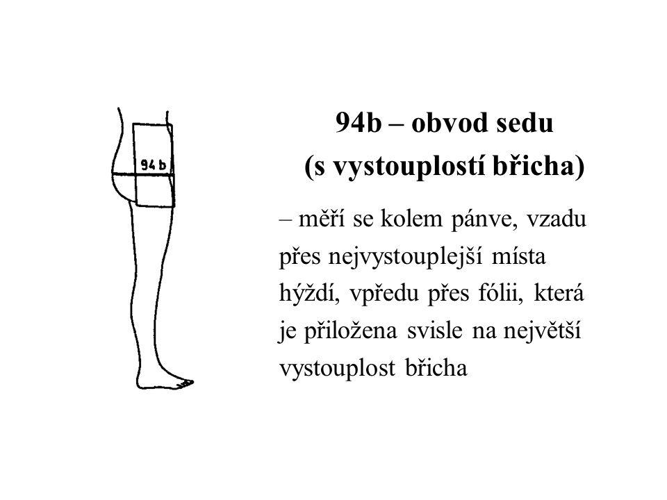 94b – obvod sedu (s vystouplostí břicha) – měří se kolem pánve, vzadu přes nejvystouplejší místa hýždí, vpředu přes fólii, která je přiložena svisle na největší vystouplost břicha