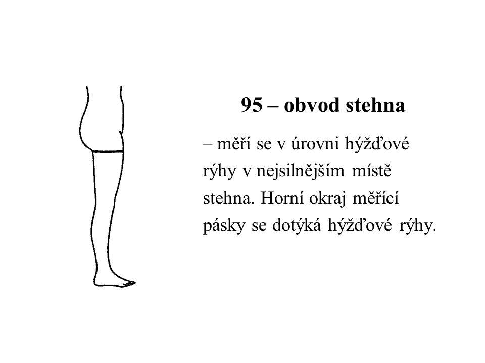 95 – obvod stehna – měří se v úrovni hýžďové rýhy v nejsilnějším místě stehna. Horní okraj měřící pásky se dotýká hýžďové rýhy.